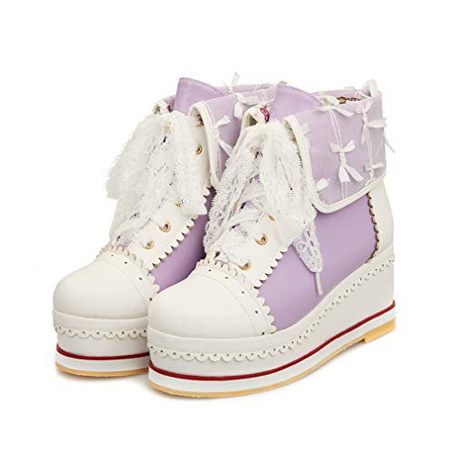 HILIB Women's Cute Lolita Boots Cosplay Brogue Wedge Boots Purple