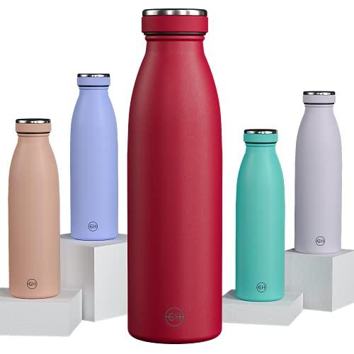GH Botella de Agua acero Inoxidable 500ml Borgoña | Frasco de Agua de Metal Reutilizable | Botella Termica Doble pared al vacío | Botella de bebida reutilizable Sin BPA, Antigoteo y Prueba de Fugas