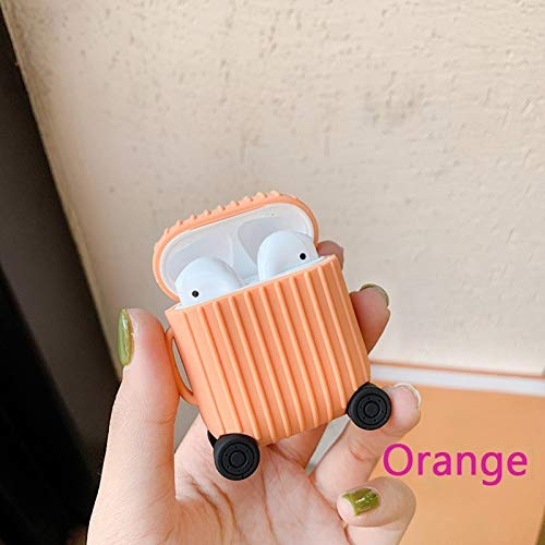 Nett Lightness Airpods Case, Cute Suitcase Airpods Case Cover, Silicone Airpods Protective Cover for Airpods1/2 gift (Color : Orange, Size : Airpods1/2)