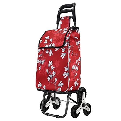 Einkaufswagen, Faltbarer Einkaufswagen Treppensteigender Wagen mit wasserdichter Einkaufstasche, für Lebensmittelgeschäfte Leichter Treppensteigwagen Einkaufen (Farbe : A)
