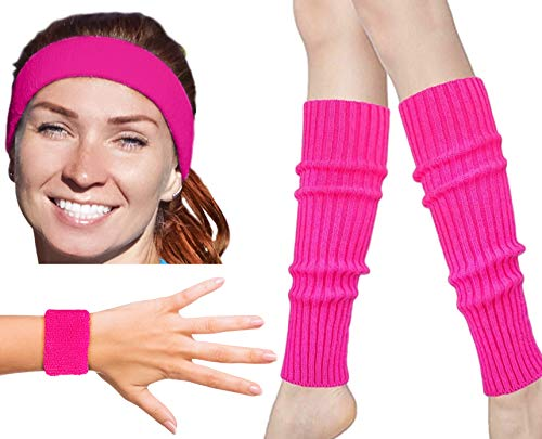 80s Workout Costumes for Women | 80s Accessories for Women | 80s Leg Warmers Set Neon Pink