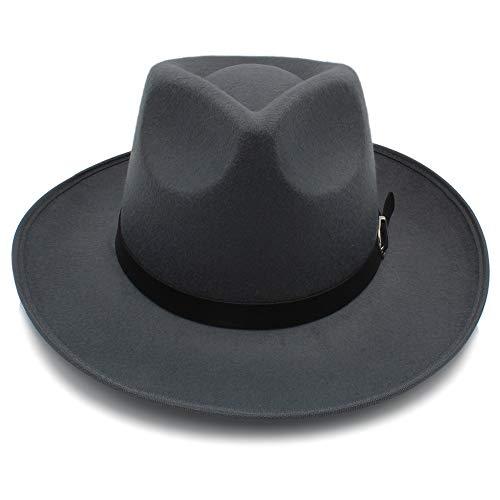 WANGXINQUAN Fashion Unisex Womem Men Classic breiter Krempe Sonnenhut Feodora Hüte Panama Cap (Farbe : Grau, Größe : 56-58CM)