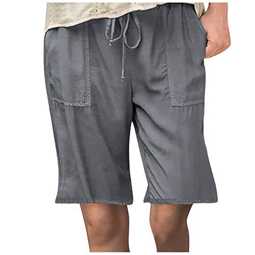 WUAI-Women Lounge Bermuda Shorts Plus Size Causal Drawstring Elastic Waist Loose Workout Sweat Summer Shorts with Pockets(Dark Grey,XX-Large)