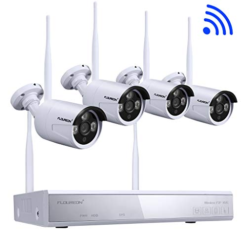 FLOUREON Kit de Seguridad NVR 4CH 1080P HDMI inalámbrico WLAN CCTV NVR DVR...