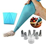 EQLEF Icing Piping Cream Pastry Bag and 6 x Stainless Steel Nozzle Set DIY Cake DIY Decorating Tool with Cleaning Brush and Twist Ties (Blue)