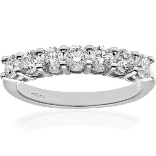 Naava Women's 18 ct White Gold Eternity Ring, IJ/I Certified Diamonds, Round Brilliant, 1.00ct, White Gold, O