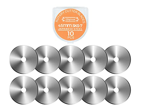 10PCS 45mm Quilting Rotary Cutter Blades for Olfa Fiskars etc, Japanese Steel Fabric Cutting Blades Refill for Quilting Sewing Scrapbooking, Straight Rotary Blades Refill Roller Blades