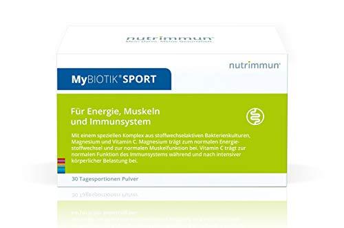 nutrimmun MyBIOTIK SPORT (30 x 3 g) Pulver – Nahrungsergänzungsmittel mit aktivem Mikrobiota Komplex, Magnesium und Vitamin C – Für Energie, Muskeln und Immunsystem