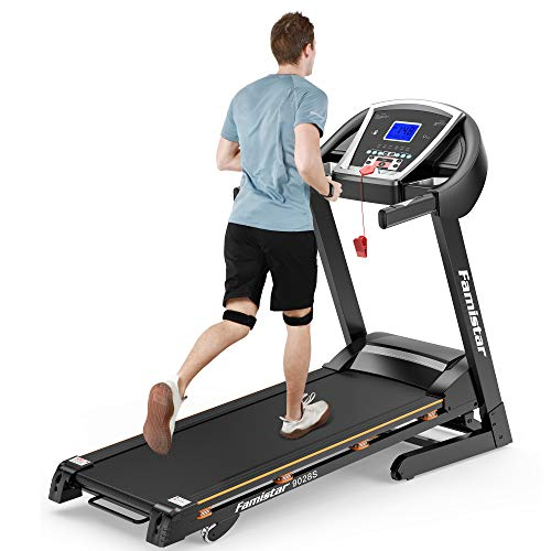 Famistar 3.25HP Motorized 15% Auto Incline Treadmill, 300LB Weight-Capacity Running Machine with Smart Shock-Absorbing System, 0.5-9 MPH 12 Programs, Easy Assembly&Space Saving for Home Office Workout