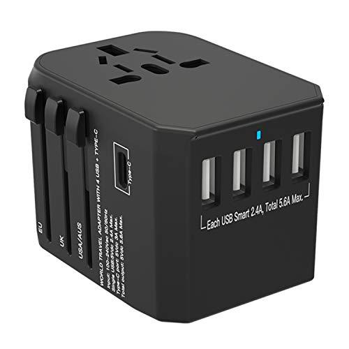 Adaptateur De Voyage Tout en Un dans Le Monde Entier Chargeur avec 5.6a Smart Power Multi USB Et 3.0a Type-C pour UK USA EU AUS Chine Irlande Thaïlande 180+ Pays (Noir)