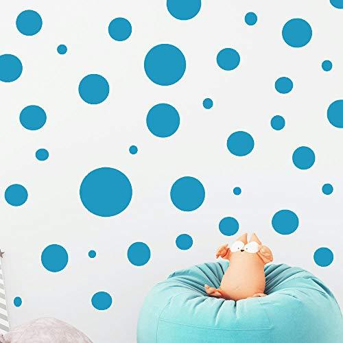 "Polka Dot Wall Decals (63) Girls Room Wall Decor Stickers, Wall Dots, Vinyl Circle Peel & Stick DIY Bedroom, Playroom, Kids Room, Baby Nursery Toddler to Teen Bedroom Decoration 3""-6.5"" (Dark Teal)"