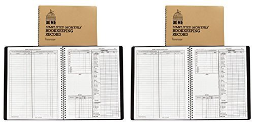 Dome 612 Monthly Bookkeeping Record with Tan Cover and 128 Pages, 11 x 8-1/2 Inches, Wirebound, 2 Packs by DomeSkin