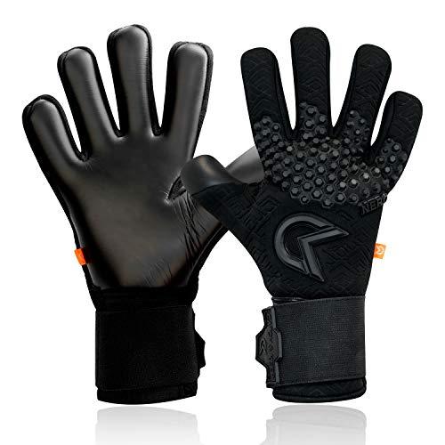 CATCH & KEEP Nero Deep Dark - Guantes de portero profesionales para adultos, con agarre interno extremadamente fuerte y corte perfecto, palma de neopreno (negro, 8)