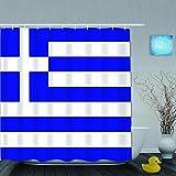 Aliciga Cortina de Ducha,Bandera de Grecia,Tejido de poliéster - con Gancho,180x180