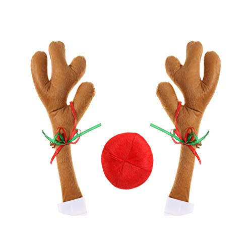 37YIMU Christmas Car Decorations Reindeer Kit, Christmas Reindeer Automotive Decoration Antlers, Nose Costume Reindeer Xmas Car Character Kit Auto Party Accessories