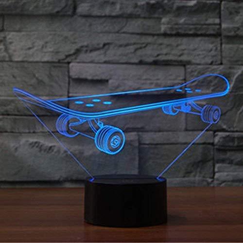Optische Täuschung 3D Skateboard Nacht Licht 7 Farben Andern Sich USB Adapter Touch Schalter Dekor Lampe LED Lampe Tisch Kinder Brithday weihnachten Geschenk