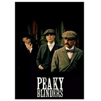 ピーキーブラインダーズテレビ-3人の男性キャンバス絵画ポスターリビングルームの装飾のための壁アート写真キャンバスに印刷50x70cmフレームなし