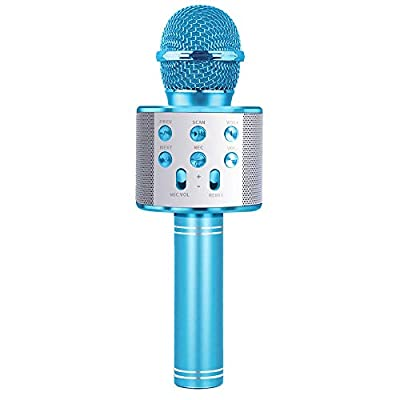 Birthday Gifts for Girls Age 5 6 7 8, Portable Bluetooth Microphone for 6 7 8 Year Old Girl Kids Karaoke Wireless Microphone Toy for Boy Child Age 5-10 Kid Girl Party Favor Gift for Kids Boys Blue