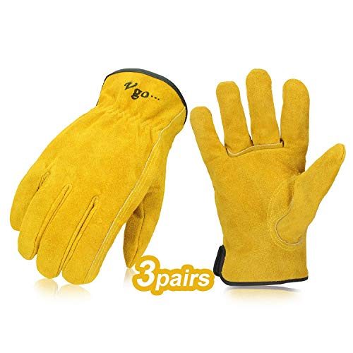 Size 8//M, Red+Grey+Yellow, NB7581 Vgo 3 Pairs Nubuck Leather Work Garden Gloves Construction Builder Driver Daily Gloves
