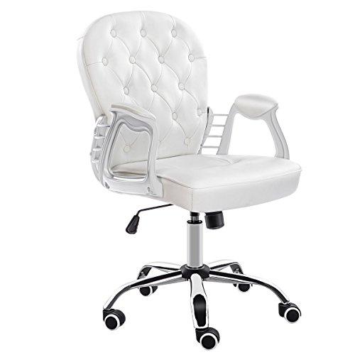 JL Comfurni Bürostuhl Drehstuhl Ergonomisch Schreibtischstuhl höhenverstellbar 360°drehbar Computerstuhl Chefsessel mit Armlehne für Mädchen/Kinder Weiß