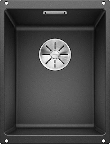 BLANCO SUBLINE 320-U - Granitspüle für die Küche für 40 cm breite Unterschränke - Unterbau - aus SILGRANIT - Grau - 523406