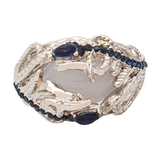 ZYYXB Anillo de cristal con diamantes de imitación de pavo real con plumas de ópalo vintage, retro, punk, gótico, de compromiso, joyería de boda, regalos para mujeres y niñas (n.º 6)