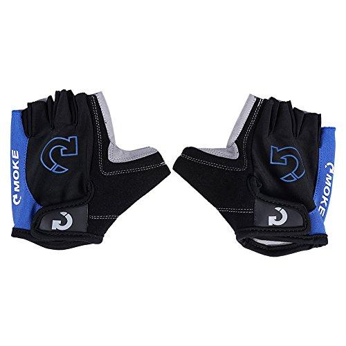 AYNEFY Guantes de carreras para moto, color negro, 1 par de guantes protectores de medio dedo para moto de carreras para ciclismo, turquesa, X-Large