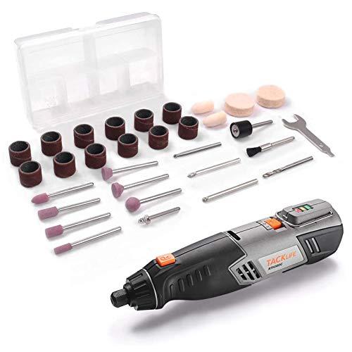 Mini Amoladora, 4V Herramienta Rotativa Inalámbrica, 2 Velocidad Ajustable(Máx 22000rpm), Batería de Litio 2.0Ah y Carga Rápida, Ideal para Diferentes Trabajos de Bricolaje