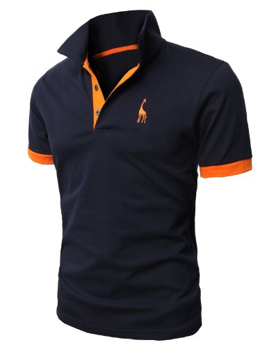 H2H Men's Polo Shirt Dir Fit Solid Polo Shirt Athletic Short Sleeve Various Polo NAVY US L/Asia 3XL (JDSK36)