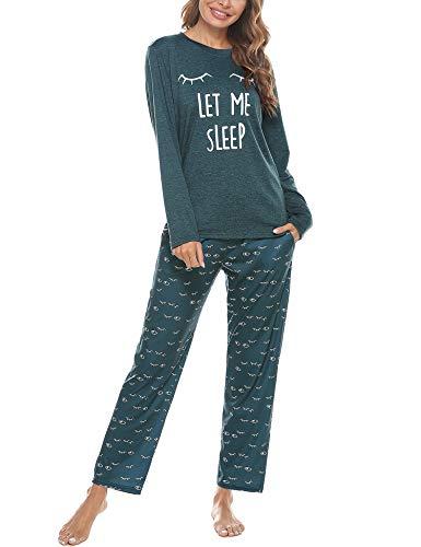 Aibrou Conjunto de Pijamas Mujer, Ropa de Casa Dormir de Manga Larga en Cuello Redondo Pijama Estampado Gato Conjuntos Camiseta y Punto de Onda Pantalon Mujer per Hogar Casual B:Verde Oscuro XXL