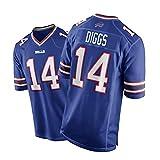 QYAD Diggs Jersey, Bills Hommes Chemise De Football Américaine Jeux Jersey Sportswear Sportswear Jersey Jersey Jersey Entraînement Étudiant Port De La Broderie Blue-XXL