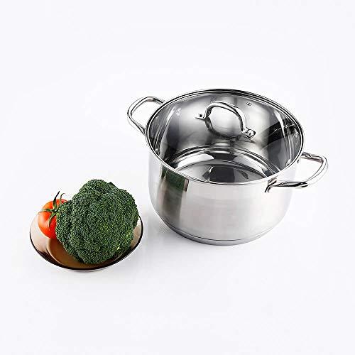 Stainless Steel Stock Pot 8 Quart with Lid - Mirror Polished Stockpot 8 Quart with Lid - Healthy Cookware Induction Soup Pot (6 Quart)