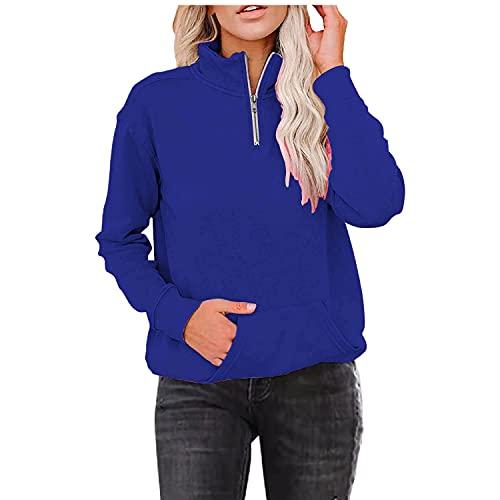 URIBAKY - Sudadera con capucha de manga larga y cuello alto para mujer, con cordón de ajuste de Navidad, sudadera con capucha y capucha, B-azul., 4XL