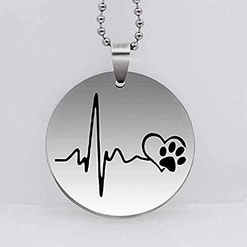 niuziyanfa Co.,ltd Necklace Stainless Steel Dog Paw Print Pendant Necklace Heartbeat Love Dog Prints Jewelry Women Gift