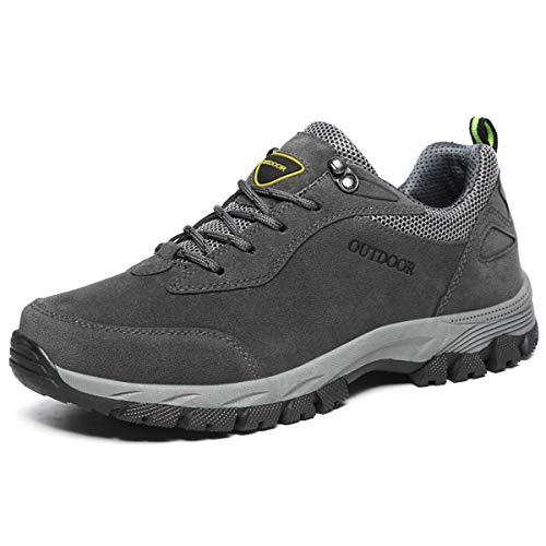 JIANKE Trekkingschuhe Herren Wanderschuhe Outdoor rutschfest Schuhe Sport Sneakers(Grau,46)