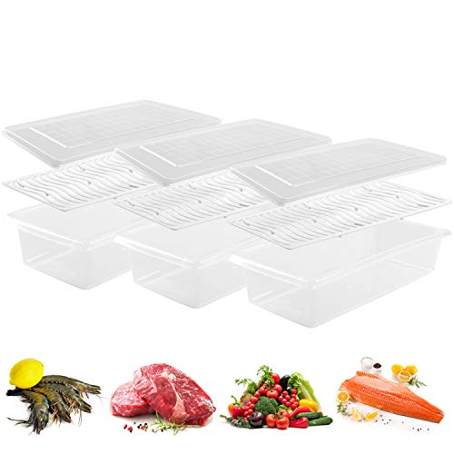 JRing Fridge Storage Containers, Kitchen Cupboard Storage Organizer Box with Lids and Removable Drain Plates, BPA-Free Keep Fresh and Storing Fish/Meat/Cheese (Small - 3 Pack)