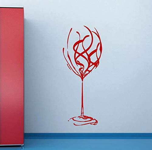 Pegatinas de pared abstractas decoración de arte restaurador extra grande copa de vino vinilo extraíble calcomanías de pared decoración del hogar barra de cocina 57x22cm