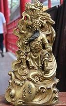 Feng Shui Decor Guan Yun Chang Statue Chinese Copper Bronze Gild Mountain Ride Guan Gong Guan Yu Warrior Buddha Statue Gua...