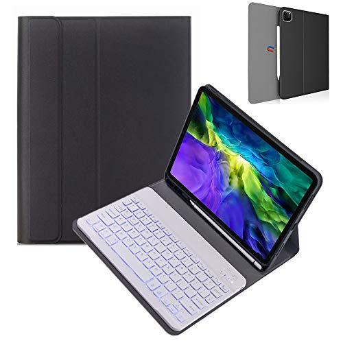 """Capa com teclado retroiluminado de 7 cores para iPad Pro 11 12,9 polegadas 2020, teclado destacável com suporte de lápis suporte para Apple Pencil Charging Slim Cover, Black+White Keyboard, iPadPro12.9"""" 2020/2018"""