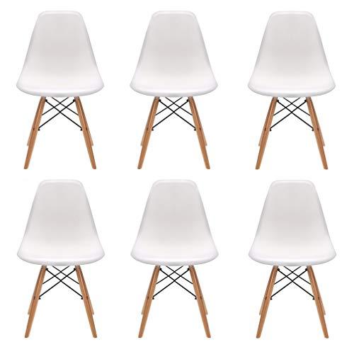 Conjunto de 4/6 sillas de plástico con patas de madera de diseño elegante y minimalista, aptas para comedor, dormitorio u oficina, de 82 x 46 x 53,5 cm ✅