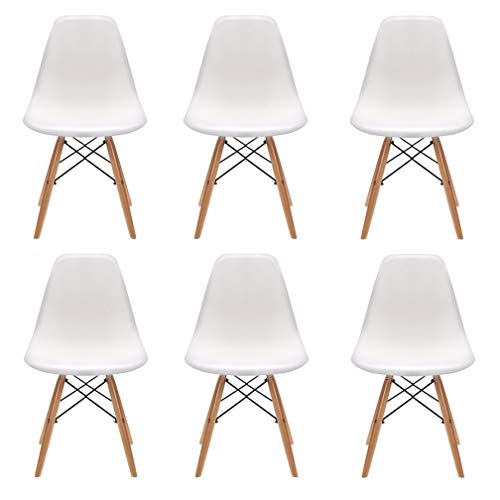 N/A Un conjunto de 4/6 sillas de plástico con patas de madera de diseño minimalista, adecuado para comedor, dormitorio, silla de oficina (blanco, 6)