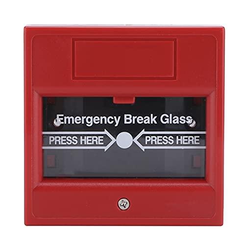 Botón de alarma de rotura de vidrio, reiniciable Botón de liberación de salida de emergencia de incendio de rotura de vidrio para puerta de salida Señal roja Interruptor de parada de emergencia, para