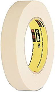 3M 234 Scotch Crepe Paper General Purpose Masking Tape, 250 Degree F Performance Temperature, 27 lbs/in Tensile Strength, 60 yds Length x 1/2