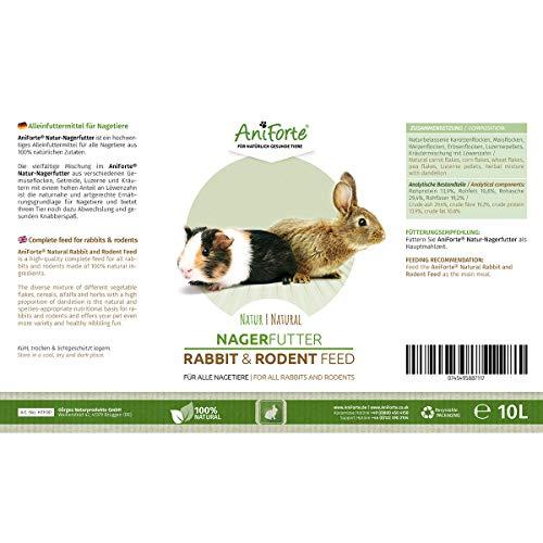 AniForte Natur Nagerfutter 10 Liter u.a. für Hamster, Meerschweinchen, Kaninchen, Chinchilla- Naturprodukt für Nager - 4