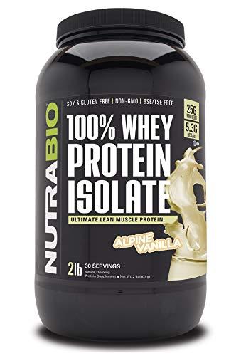 NutraBio 100% Whey Protein Isolate - Complete Amino Acid Profile - 25G of Protein Per Scoop - Soy and Gluten Free - Zero Fillers, Non-GMO, Protein Powder - Vanilla, 2 Pounds