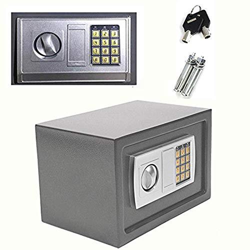 Digitaler Tresor, 8,5 Liter, groß, 20 x 31 x 20 cm, mit 2 Ersatzschlüsseln, für Geldkassette, Heimbüro, Grau