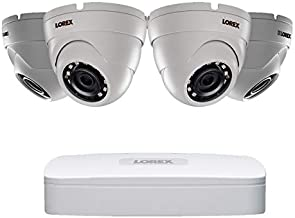 Lorex 4K Ultra HD IP NR810 Series NVR System with 2K LNE4172SB IP Dome Cameras Package, 130FT Color Night Vision, 4 Channel 1 TB NR8141 NVR with 4 White Bullet Camera