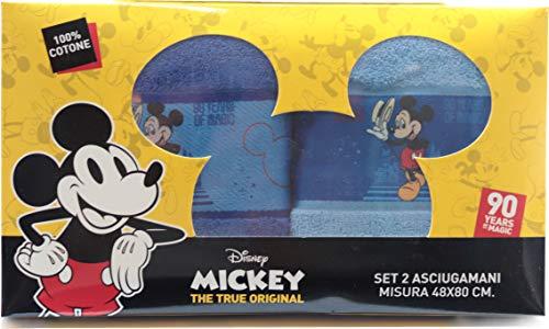 Asciugamani Disney Set Bagno in Puro Cotone 48 x 80 Centimetri Disponibili con Diversi Personaggi (Mickey - Topolino)