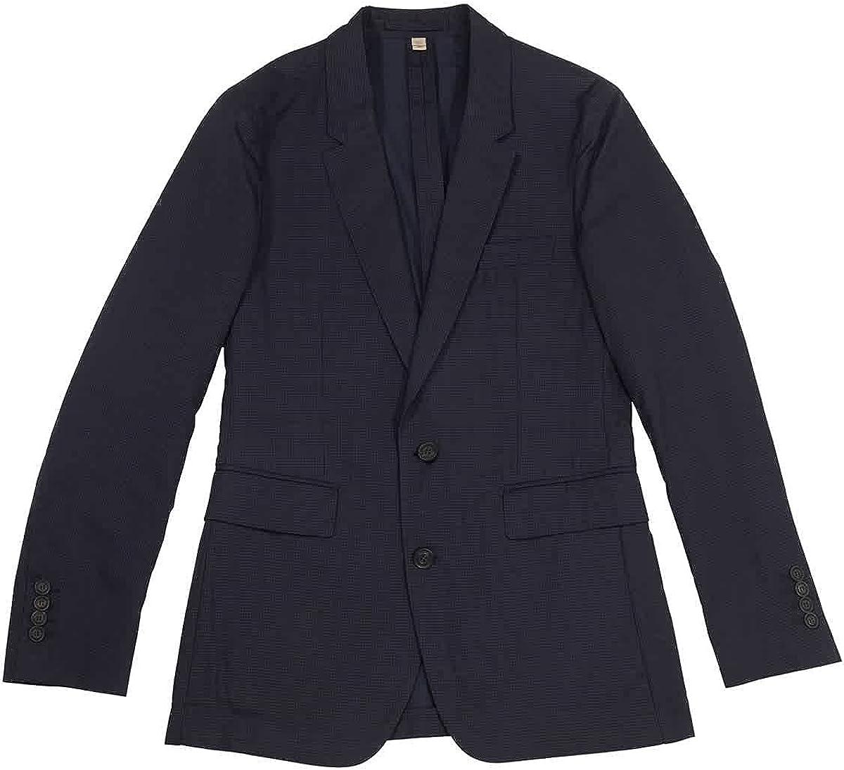 BURBERRY Serpentine Navy Gingham Print Sport Coat, Brand Size 46R (US Size 36)
