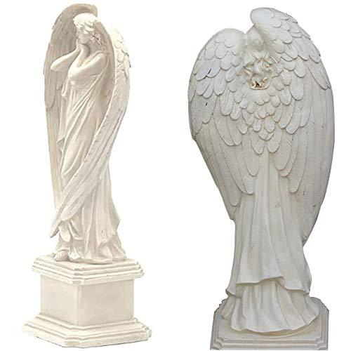 Vinbcorw On Pedestal Resin Large Wings Cherub Figure-Girl Angel- garden ornaments decoration 5.2×5.2×15.2in,White